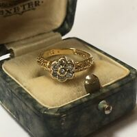 Stunning Victorian Style Diamond Ring Floral Set Engraved 9ct Gold, 0.25 ct