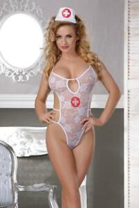 Hot Sexy/Sissy Body Nurse Outfit Costume Bodysuit Teddy Top Lacing Uniform