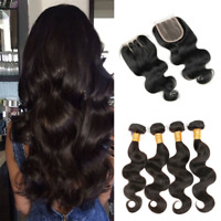 9A Indian Body Wave Virgin Human Hair 4 Bundles With 4*4 Closure With Baby Hair