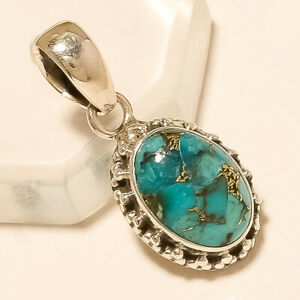 """4.40 Gm Natural Copper Turquoise Pendant 925 Solid Sterling Silver 1.25"""" M-629"""
