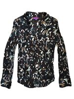 Suzanne Grae Size 12 Long Sleeve Button Down Top Blouse Abstract Pleated Satin