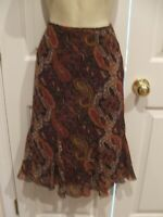 NWT $69 petite siophisticate FULLY LINED  SKIRT  brown paisley SIZE P8