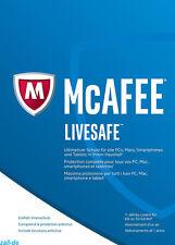 McAfee LiveSafe 2017 für Windows / Android / iOS - Schutz auf allen Geräten -Key