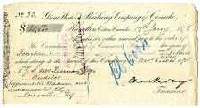 1878 Great Western Railway Company Canada Railroad Montreal Bank Check #33