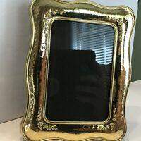 Vintage Brass Picture Photo Frame Standing Easel Back Embossed Flowers 3.5 x 5