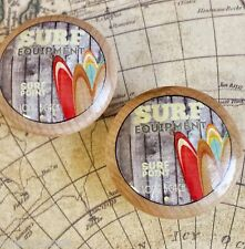 "4 Handmade SURF Knobs, 1.5"" Beach Knobs, Retro Wood Style Surfing Knobs"