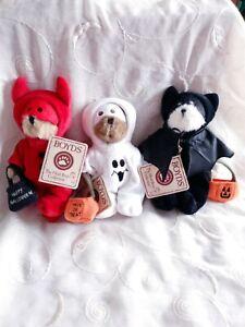 Boyds Bears The Head Bean - DEVIN, BRUCE, GHOULIA Halloween Devil Bat Ghost
