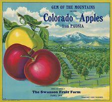 "RARE OLD ORIGINAL 1920 STONE LITHO ""GEM OF THE MOUNTAINS"" LABEL PAONIA COLORADO"