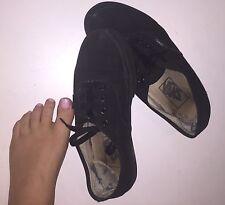 Well Worn Old Used Girls Shoes Size 6 Petite Black Vans Runners Women's Sneakers