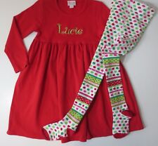"""Boutique """"Lucie"""" Red Christmas Dress With Tights Girls Size 6"""