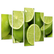 Five Picture Lime Green Canvas Wall Prints Kitchen Dining Room 5113