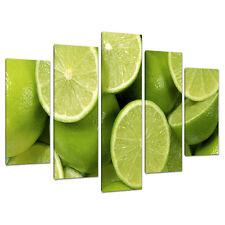 Cinque FOTO Lime Verde Tela Stampa Muro Cucina Sala da Pranzo 5113