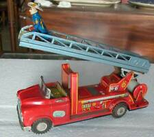 JAPAN TIN FIRE ENGINE FRICTION POWERED TOY NEW+BOX