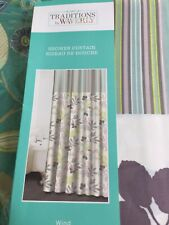 Waverly Wind Floral Stripe Green Grey Fabric Shower Curtain NEW
