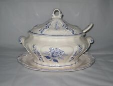 Vintage Tureen 4 Piece Blue and White Ceramic Portugal