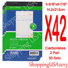 42 PC Sales Order Book 2 Part Carbonless Receipt Forms Invoice 50 Sets Duplicate