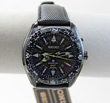 Men's Seiko Kinetic GMT Prospex Watch, Black IP, Black Dial on Black Leather