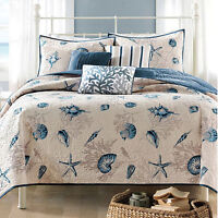 6-Piece BAYSIDE Sea REVERSIBLE Coverlet QUILT Set KING Size Bedspread 5x Pillow