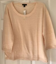 J Crew Women Linen sweater with pom-pom trim G5362 Dusty ivory L Large
