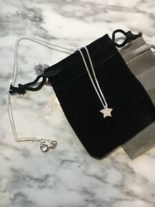 925 Sterling Silver Cubic Zirconia Star Pendant Necklace With Gift Pouch