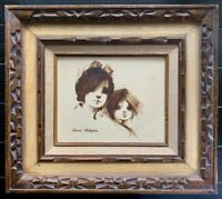 "Vintage. Original Oil Painting ""Big Eyes Boy and Girl"" KEVIN McALPIN. Framed."