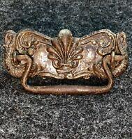 Antique 1800s Pressed Tin Drawer Pull Fish Serpent Dragon Nautical Furniture K