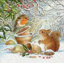 4x PAPER NAPKINS for Decoupage CHRISTMAS WINTER PICTURE ROBIN & SQUIRREL