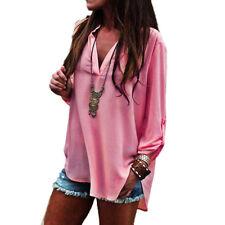 Damen Chiffon V-Ausschnitt Bluse Pullover Langarm Longshirt Tunika Oberteil Hemd