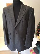 Daks Signature ~ Wool & Cashmere charcoal grey herringbone jkt/ blazer EU 54 - L