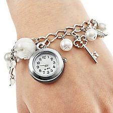 Fashion Women Girl Keys Leaves Charms Bracelet Quartz Wrist Watch Gifts Healthy