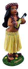 "Hawaiian Dashboard Hula Mini Doll Playing Ukulele 4"" Natural Color Skirt Wiggles"