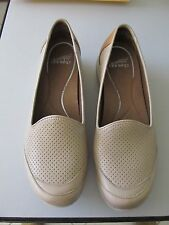 Women's Dansko taupe perforated leather slip ons sneakers slides sz 41 (10.5-11)
