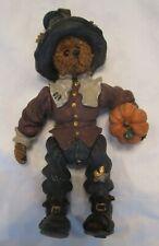 Boyds Bears Shoe Box Hobo Pligrim Bear with Pumpkin Rare Movable Arms & Legs