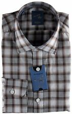 NWT BARBA NAPOLI SHIRT Dandy life white brown grey luxury handmade 39 15 1/2