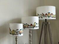 Birds Drum Lampshade in Laura Ashley Garden Birds Fabric, Handcrafted 20,30,40cm