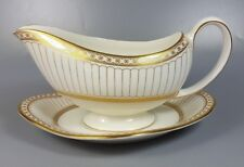 WEDGWOOD COLONNADE (GOLD) R4339 GRAVY / SAUCE BOAT AND STAND