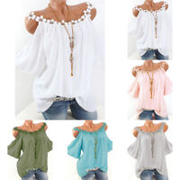 Plus Size Womens Cold Shoulder Loose Casual Tunic Tops Blouse Summer Tee T Shirt