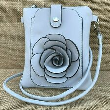 Pale Grey Rose Small Bag with Smart Phone Spectacle Holder Long Cross Body Strap