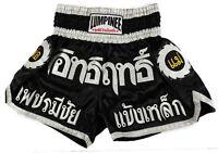 LUMPINEE Muay Thai Boxing Shorts LPN-002 Kick Boxing K1 MMA Trunks Black Satin