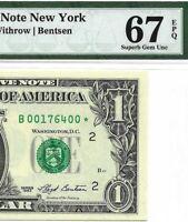 1993 $1 NEW YORK *STAR* ⭐️ BANKNOTE, PMG SUPERB GEM UNCIRCULATED 67 EPQ MULE 3rd