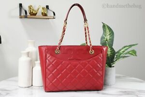 Tory Burch 64216 Savannah Red Small Smooth Quilted Leather Flat Tote Bag Handbag