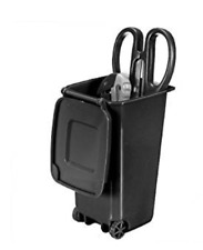 Trash Can and Recycling Mini Storage Bin Pen Holder With Lid Black 10*8*15.5cm