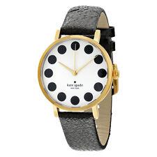 Kate Spade Black Metro Cream Dial Black Leather Ladies Watch 1YRU0107
