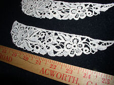 """10 Vintage Off-White(Ivory)Crochet-Lace Insert (7.5"""" X  2"""") with a Flower Design"""
