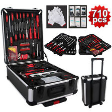 710 pcs Standard Metric Mechanics Kit Tool Set Case Box Organize Castors Trolley