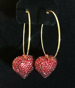 "Hoop Earrings Gold Plated Red Rhinestone Heart Fashion Statement 3.75"" #1438"