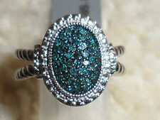 Gorgeous Genuine 1/4ct Blue Diamond Sterling Silver Ring,