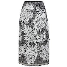 Erdem Shimmer Black White Floral Applique Distress Tweed Pencil Skirt UK10 IT42