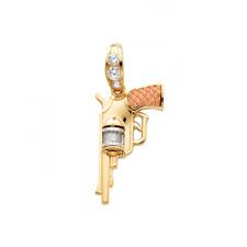 14K Solid Yellow White Rose Gold CZ Pistol Gun Pendant - Revolver Hand Necklace