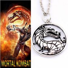 Mortal Kombat Diecast Nickel Silver Pendant Necklace 24mm Die-Cast, with Chain